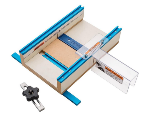The table saw with small parts sled included